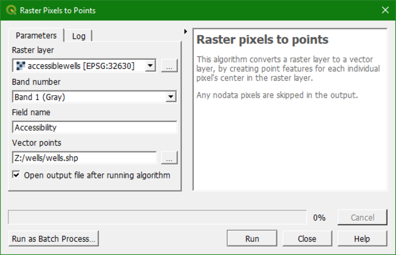 raster pixels to points dialog