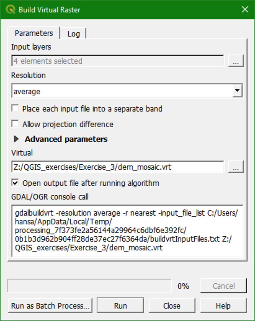 build virtual raster dialog