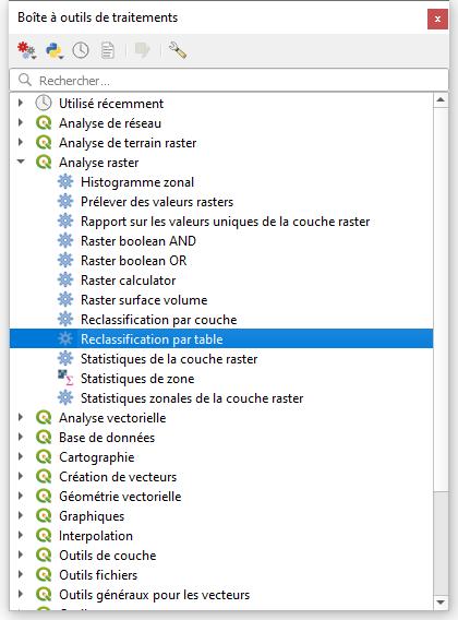 reclassifier par table menu