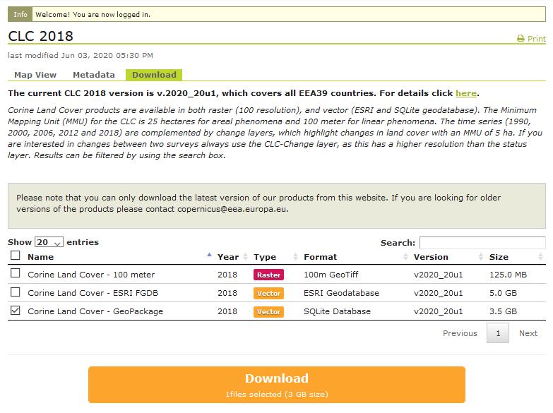 corine-data-download